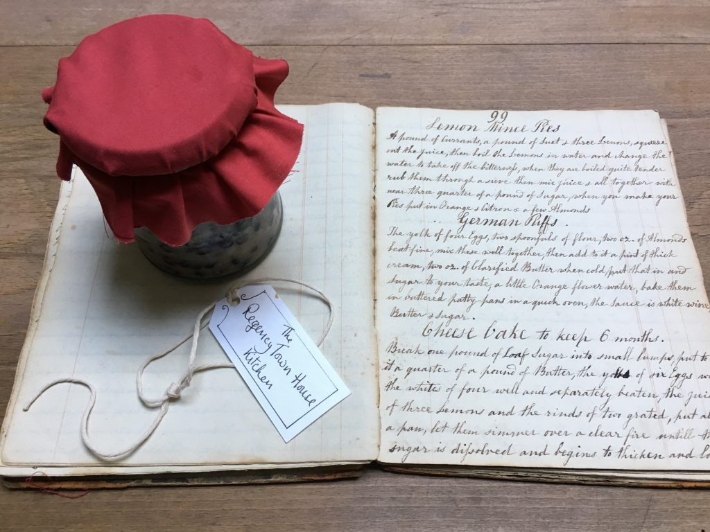 Eliza Action's mince meat and hand-written recipe book