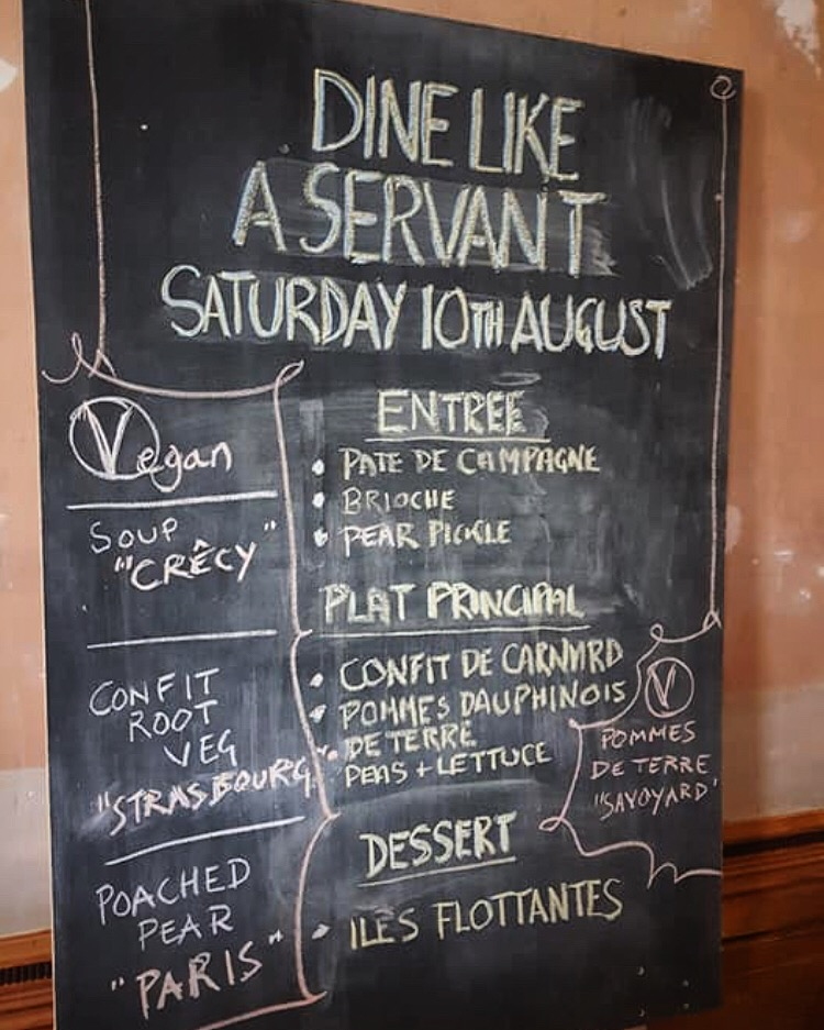 Historic French menu of pate, confit duck and ile flotant