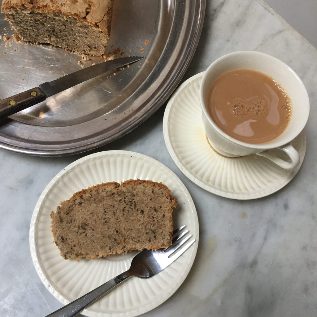 Seed cake and cup of tea