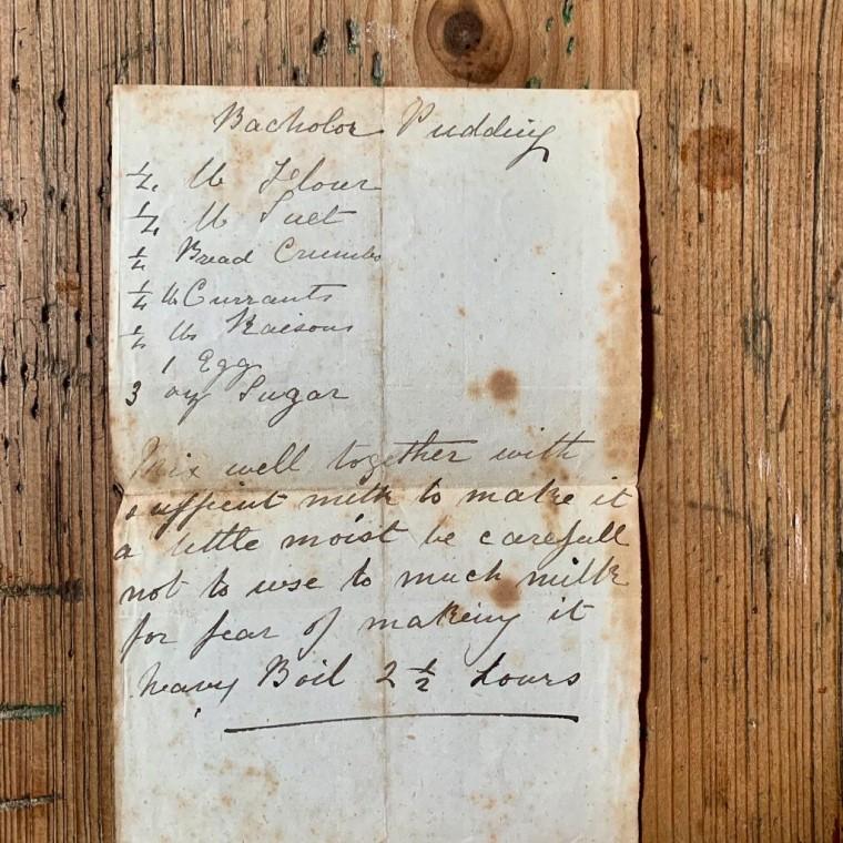 Bachelor Pudding manuscript recipe