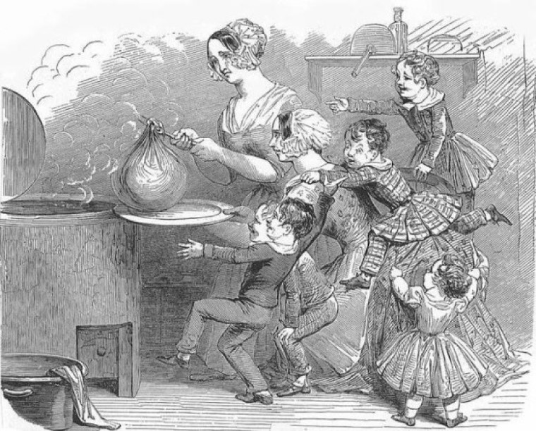 Boiling a pudding, many noisy children