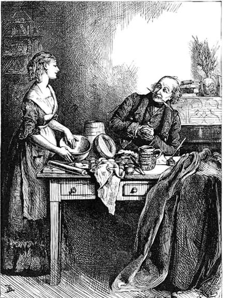 Buttering the pudding bowl (etching)