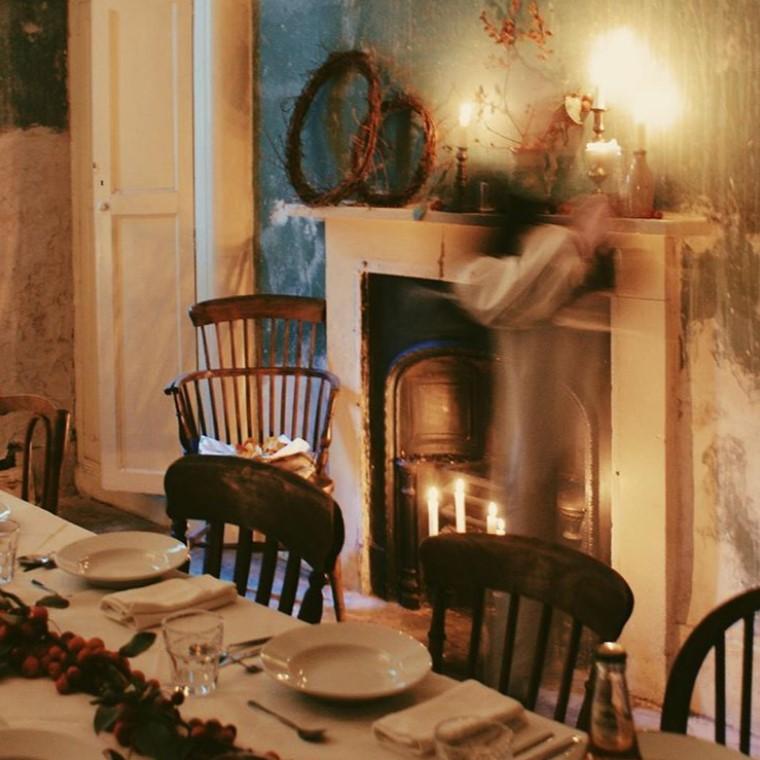 Lighting candles for dinner