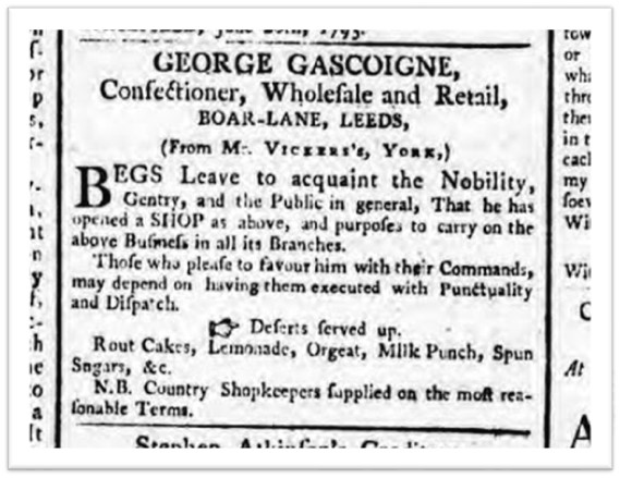 George Gascoigne, confectioner, advertises rout cakes and lemonade