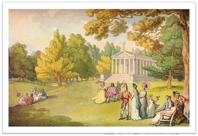 A Regency era picnic near a roman temple in a park setting