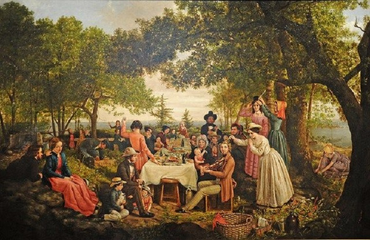 A lavish Victorian picnic in a wooded glade